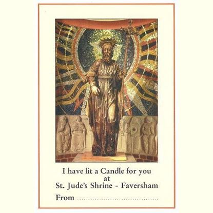 "Picture of ""I have lit a candle for you"" prayer card at the Shrine of Saint Jude"