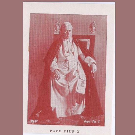 Picture of Prayer card for Pope Pius X (now Saint)