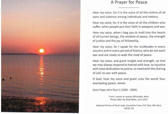 Picture of Prayer for Peace - prayer card