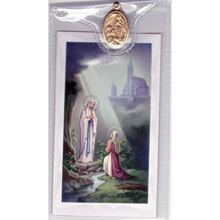 Picture of Our Lady of Lourdes prayer card & medal
