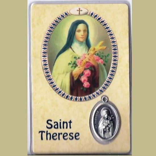 Picture of Saint Thérèse of Lisieux prayer card and silver medal