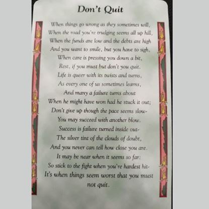 Picture of 'Don't Quit' prayer card