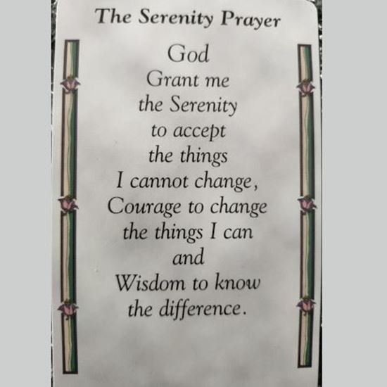 """Picture of """"The serenity prayer"""" prayer card"""