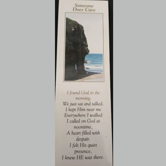 """Picture of """"Someone does care: God"""" prayer card and bookmark"""