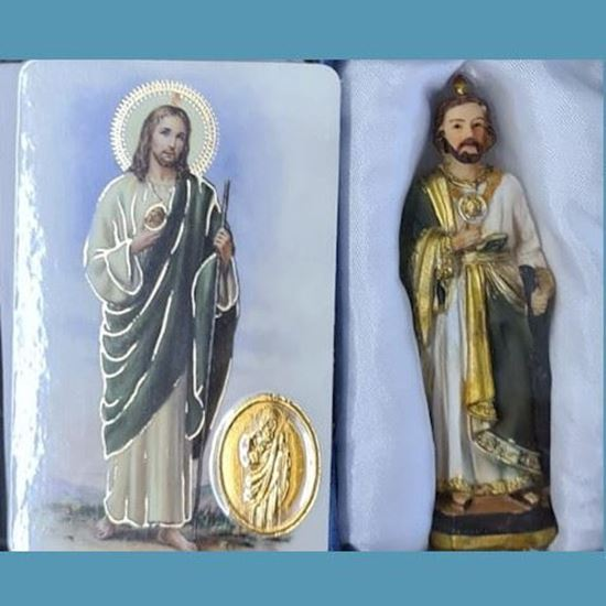 Picture of Saint Jude statue with medal and prayer card