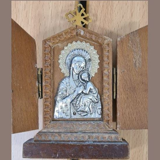 Picture of Our Lady and Jesus - wooden ornament