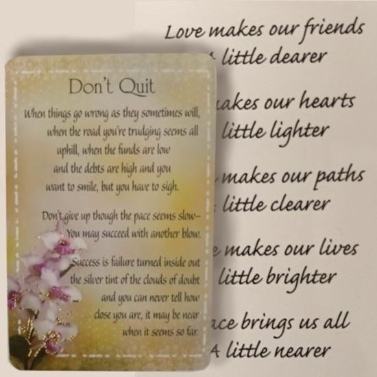 Picture of Don't Quit prayer card