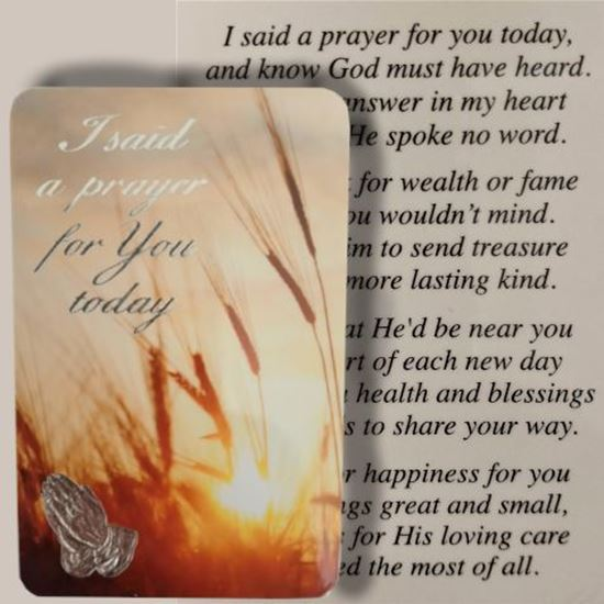 Picture of 'I said a prayer for you' prayer card