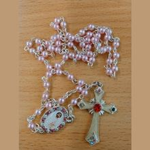 Picture of Saint Jude Marcasite rosary - Pink