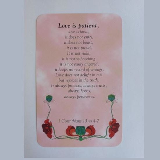 Picture of 'Love is patient' prayer card