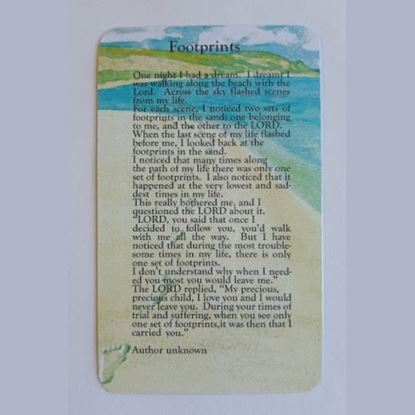 """Picture of """"Footprints"""" prayer card"""