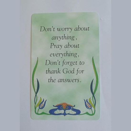 """Picture of """"Don't worry about anything"""" prayer card"""