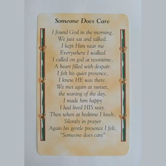"""Picture of """"Someone does care"""" prayer card"""